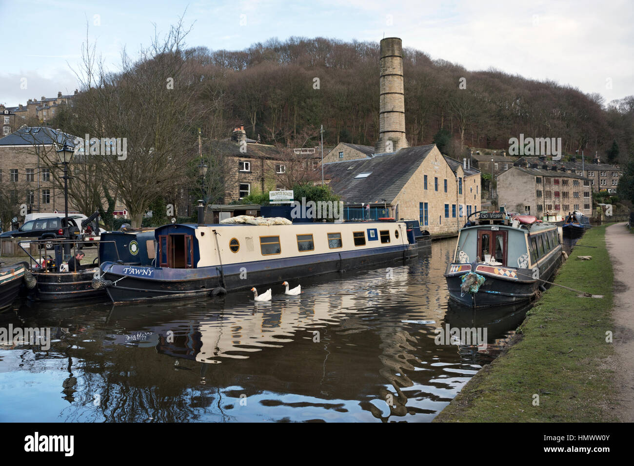 The Rochdale Canal at Hebden Bridge, West Yorkshire, UK - Stock Image