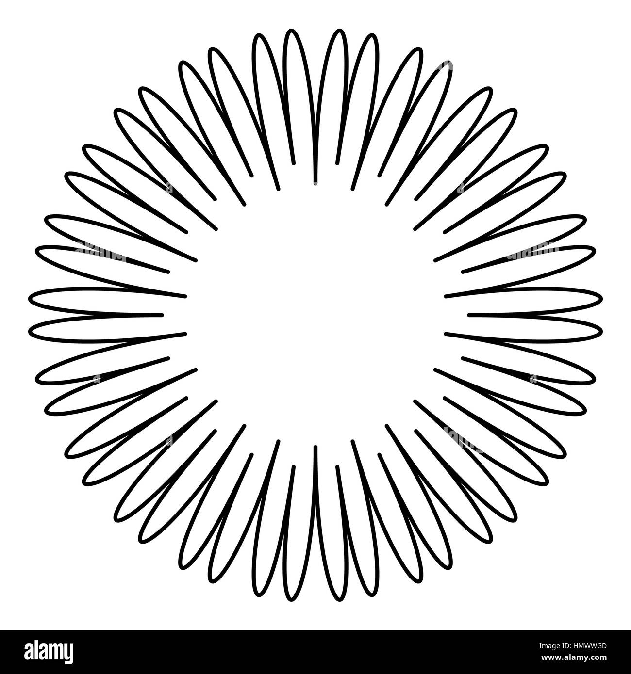 Contour element with radial lines isolated on white - Stock Image