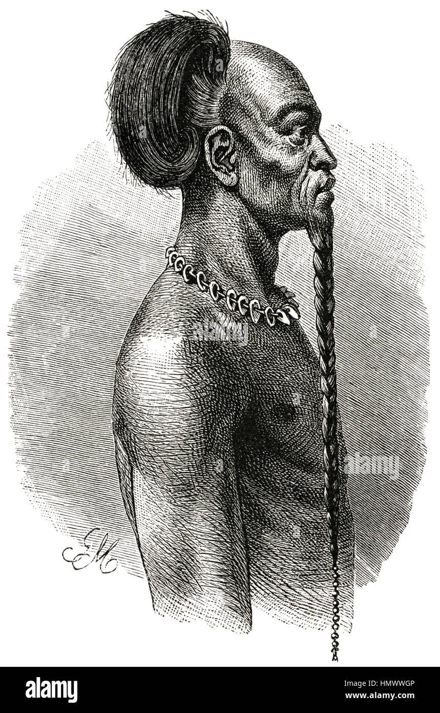 Portrait of Chieftain, Manjema, Africa, Illustration, 1885 - Stock Image