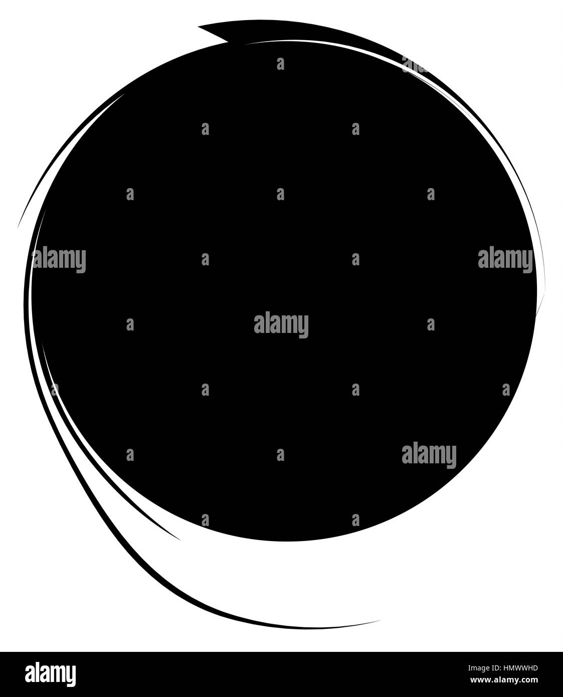 Circle with dynamic swoosh line frame. Monochrome circular element - Stock Image
