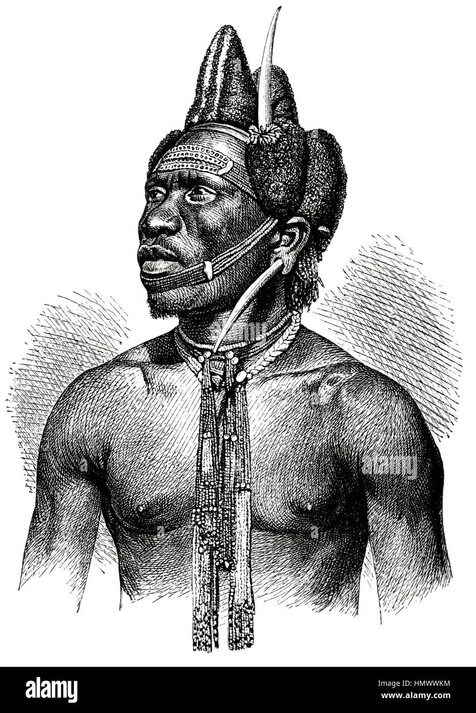Pondo Warrior, Africa, Illustration, 1885 - Stock Image