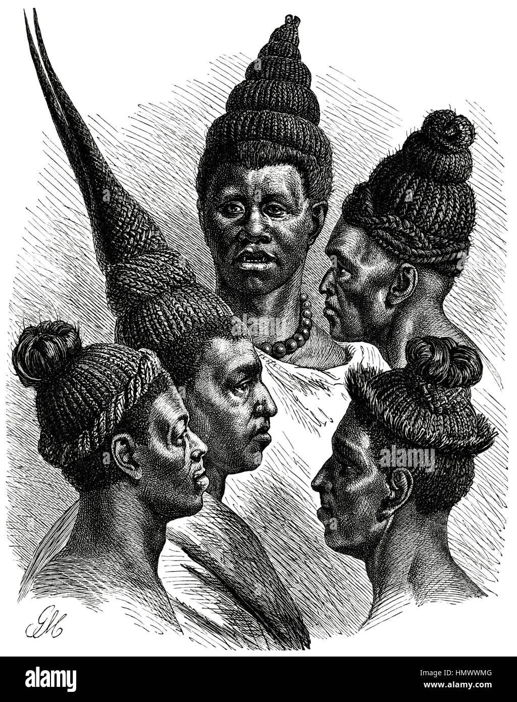 Hair fashions of the Maschukulumbe, Southern Africa, Illustration, 1885 - Stock Image