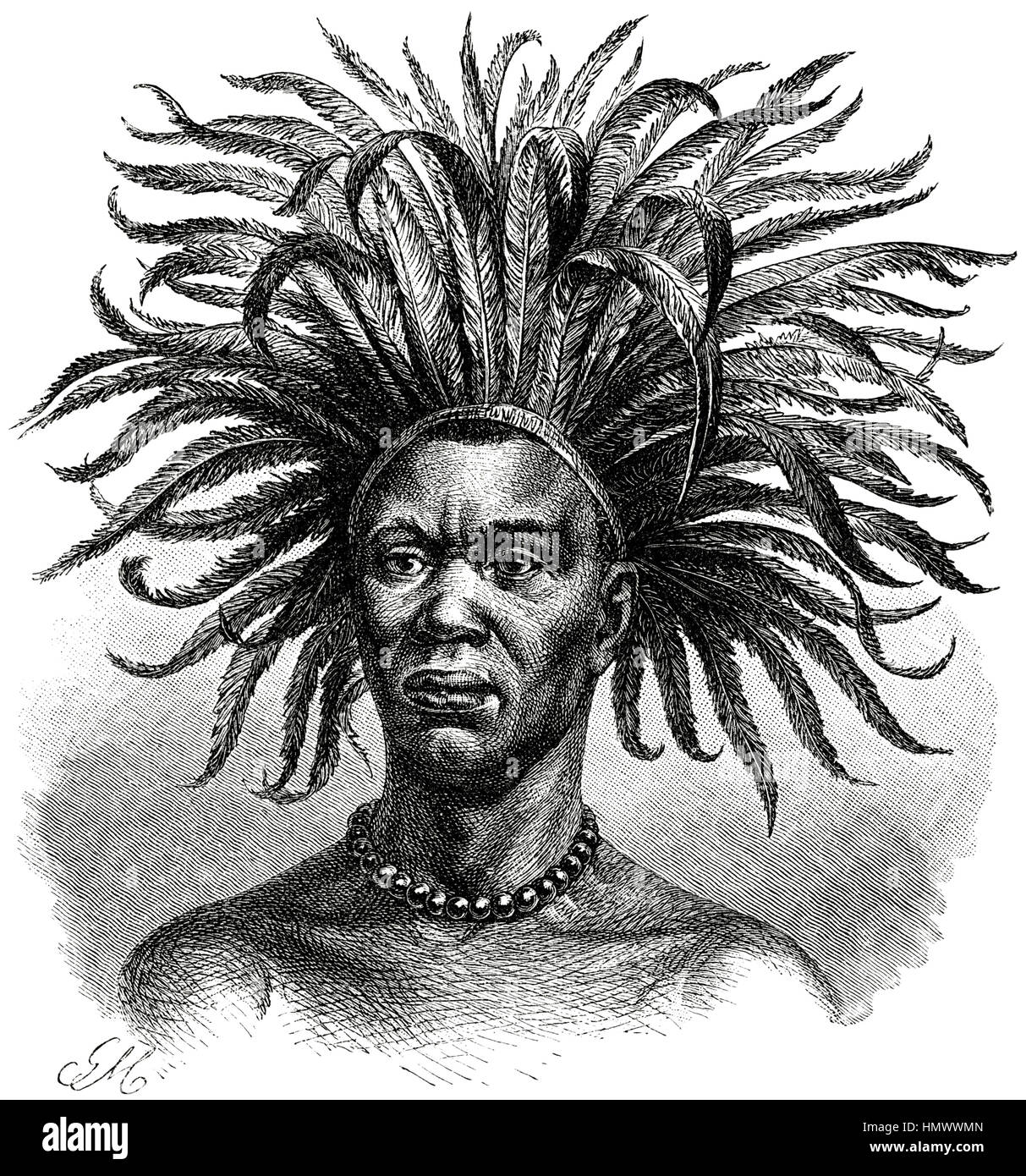 Young Mtuta Man with Feathered Headdress, Africa, Illustration, 1885 - Stock Image