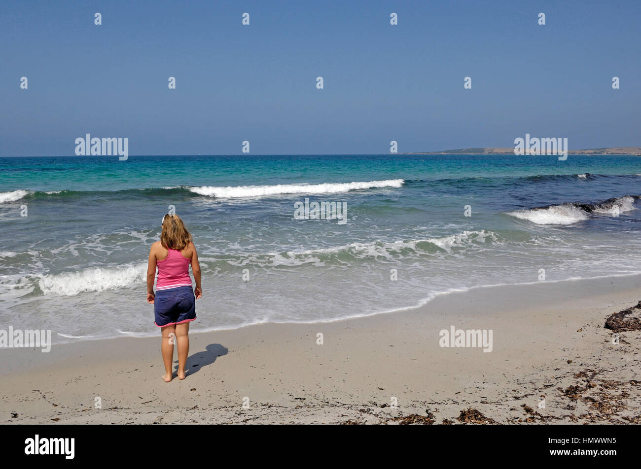 A view on the S'arena Scoada beach, Oristano district, Sardinia, Italy - Stock Image