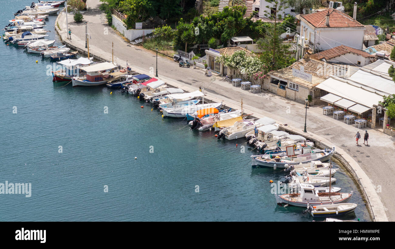 elevated view of Gaios, Paxos, Ionian Islands, Greece - Stock Image
