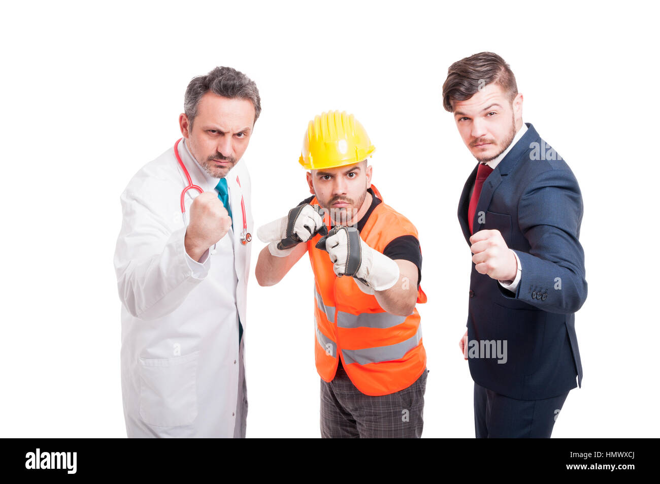Furious group of men being prepared for battle or figh and doing punch gesture isolated on white - Stock Image