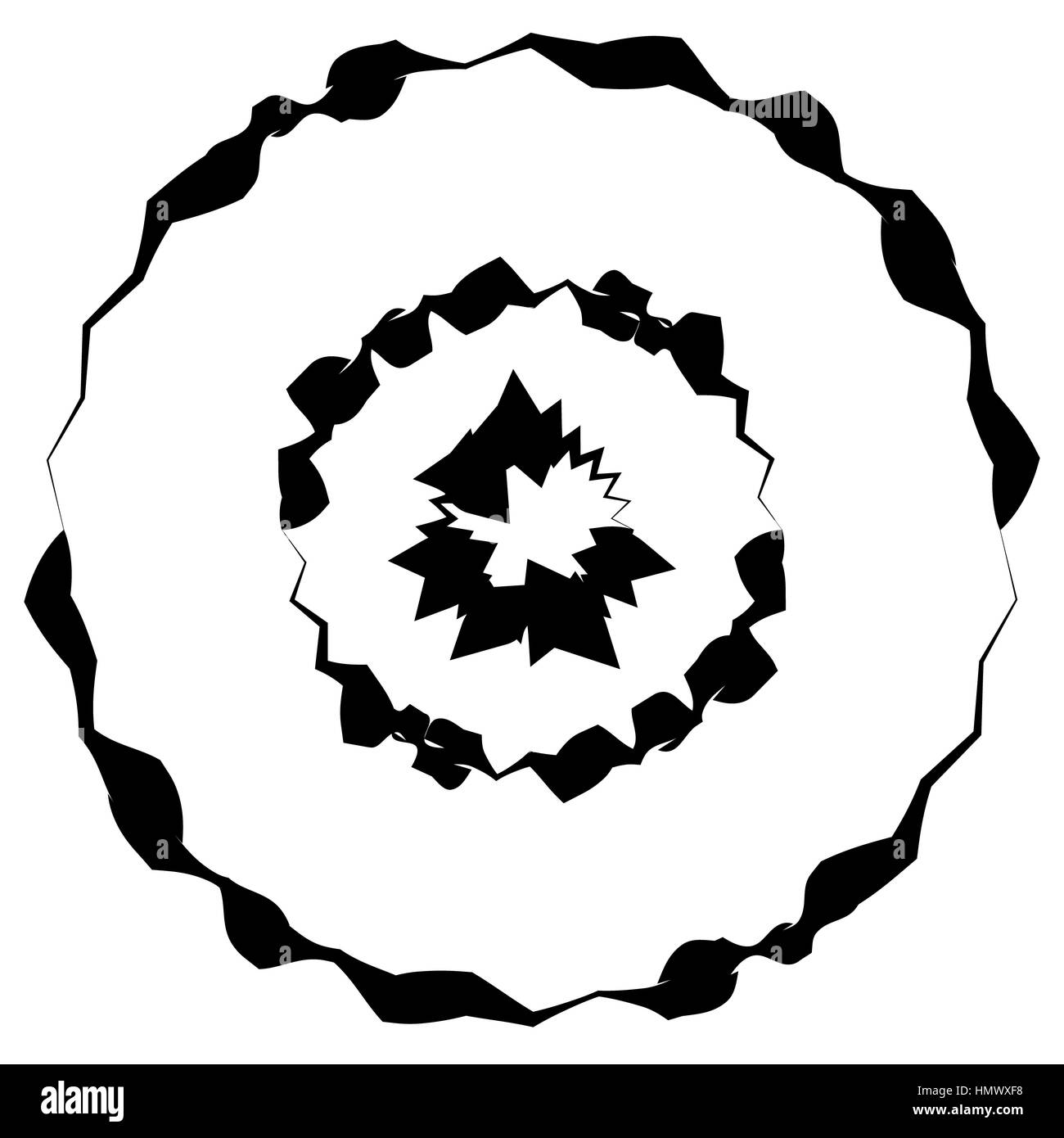 Concentric circles, rings with deformation. Geometric circular element - Stock Image