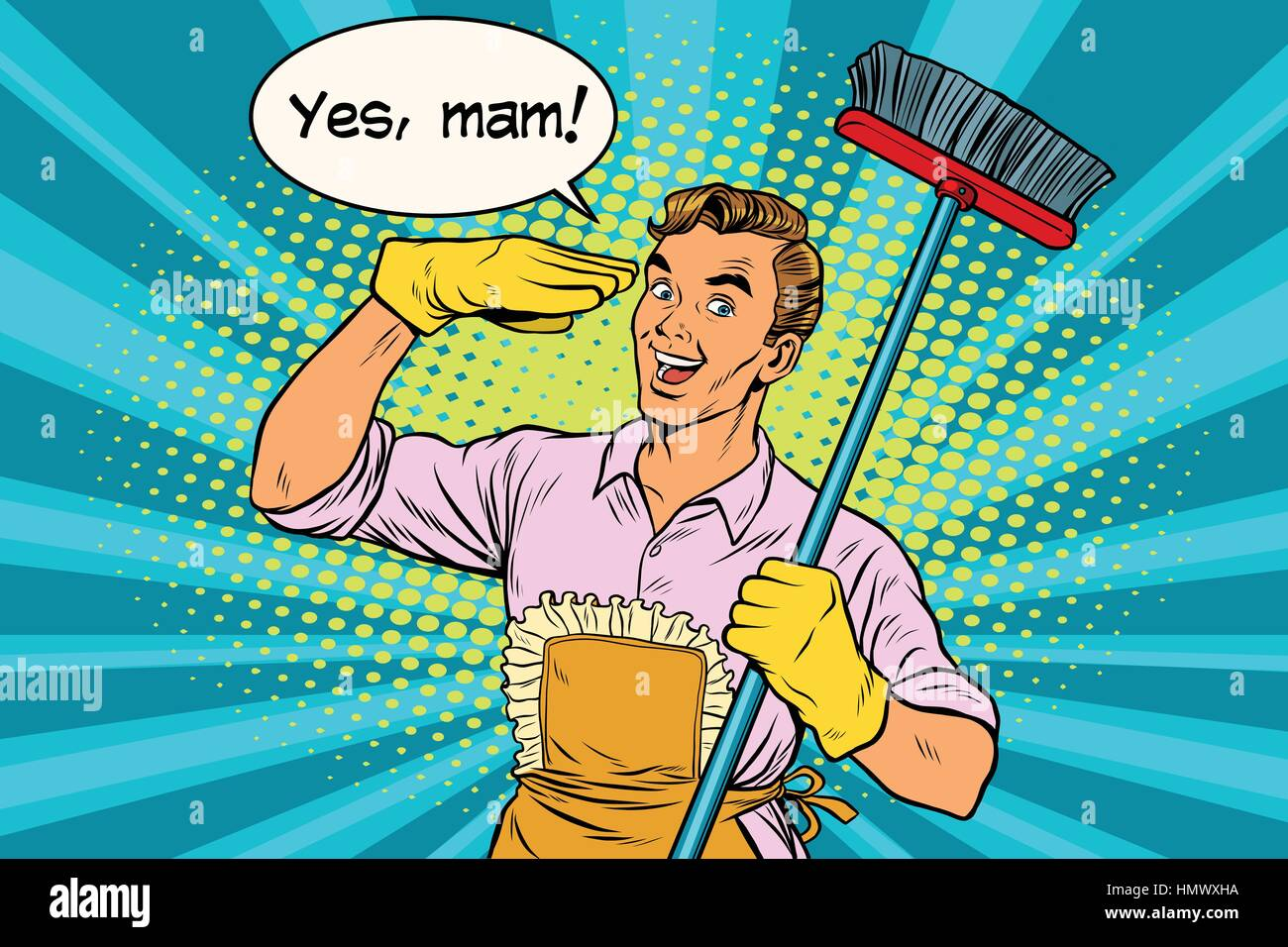 yes mam Husband and cleaning the house - Stock Vector