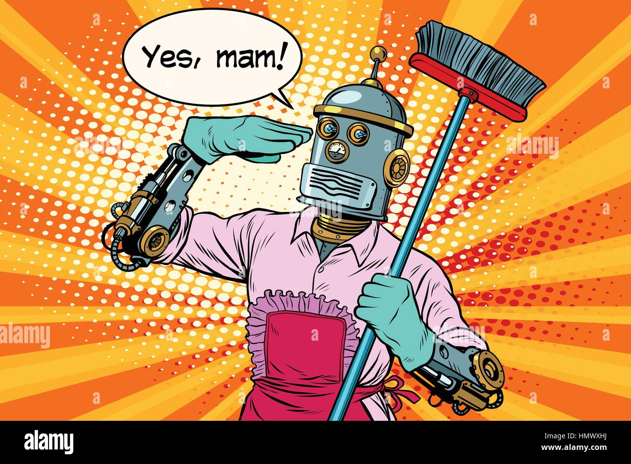yes mam Robot and cleaning the house - Stock Vector
