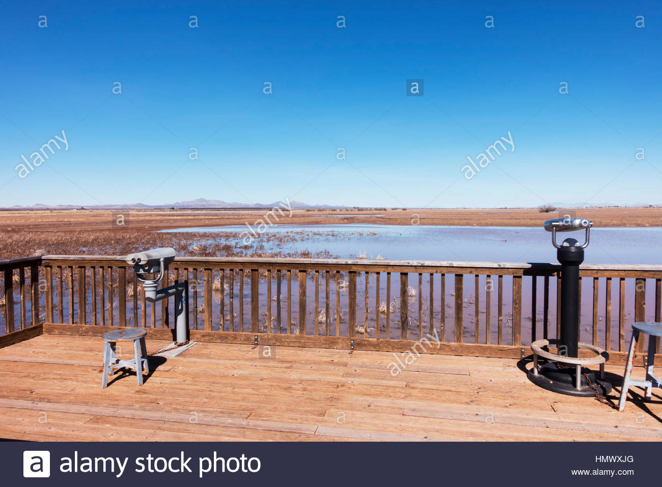 View from one of the observation decks at Whitewater Draw Wildlife Area in southeastern Arizona - Stock Image