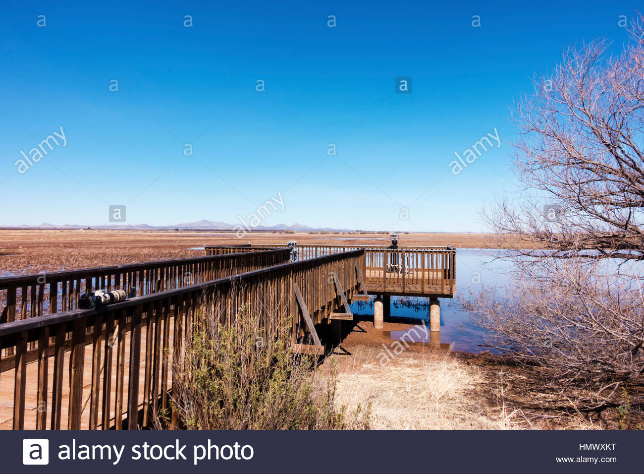 One of the observation decks at Whitewater Draw Wildlife Area in southeastern Arizona - Stock Image