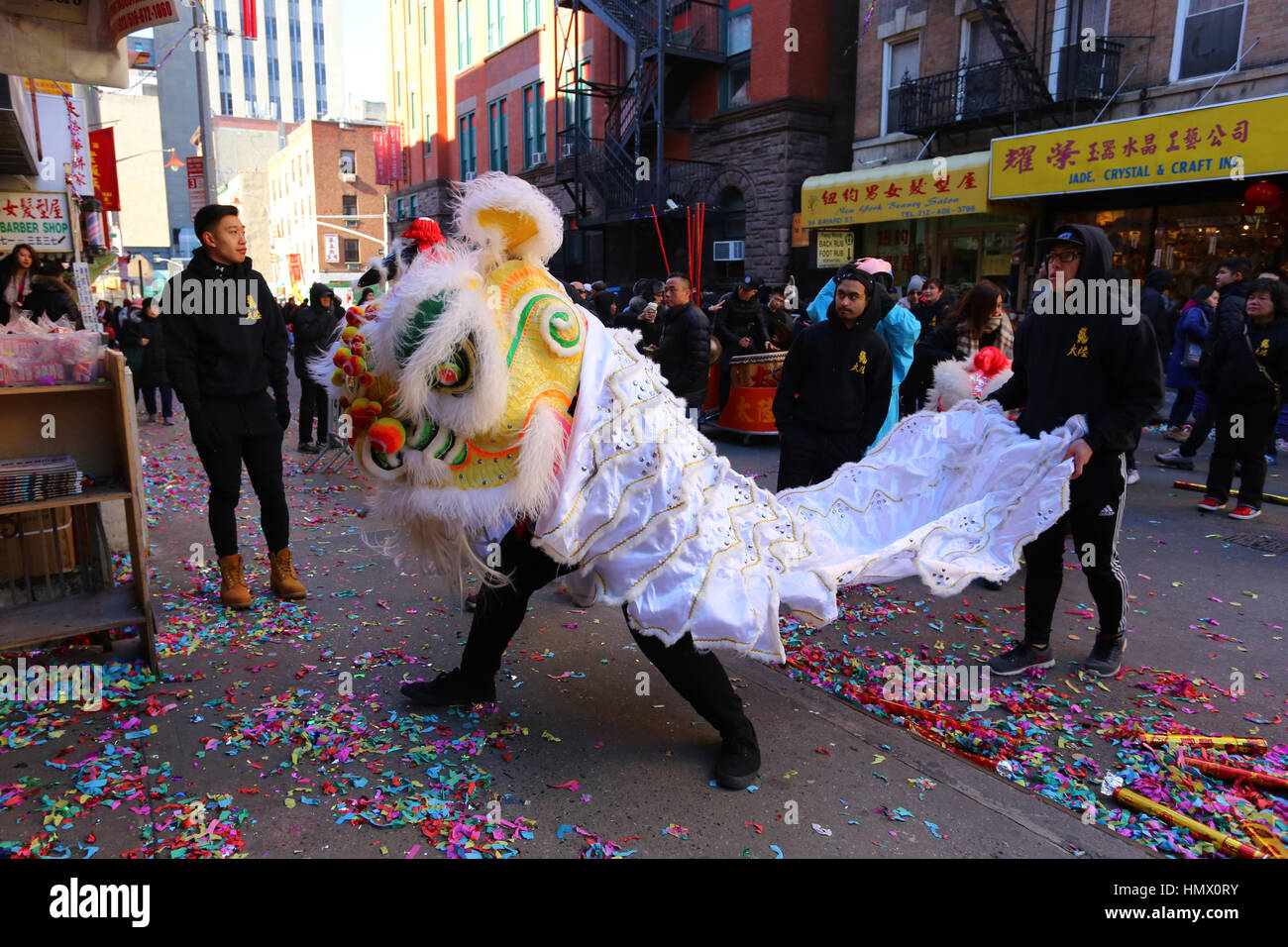 New York, USA. 04th Feb, 2017. New York Chinatown celebrating the Lunar New Year, Year of the Rooster with Lion - Stock Image