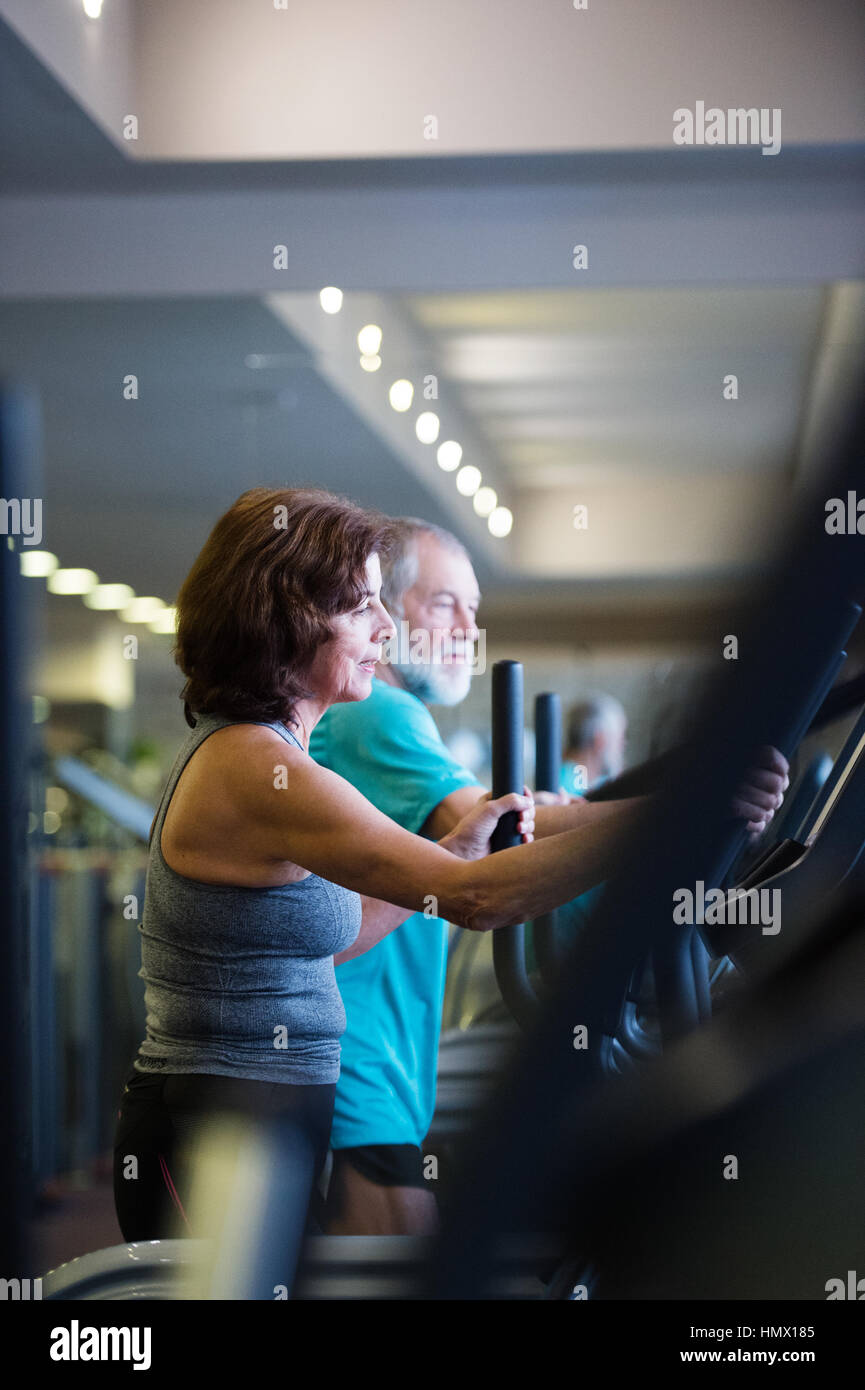 Beautiful fit senior couple in gym doing cardio work out. - Stock Image
