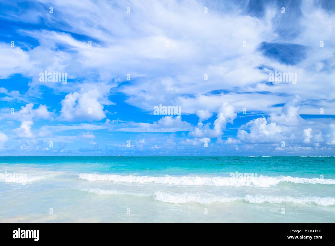 Empty coastal Caribbean landscape. Atlantic ocean coast, Hispaniola island, Dominican republic. Bavaro beach - Stock Image