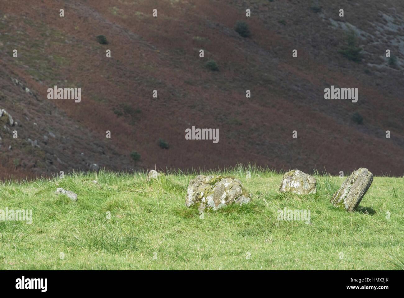 Stone circle on Bryn Bras, Ponterwyd, Ceredigion, Wales - Stock Image