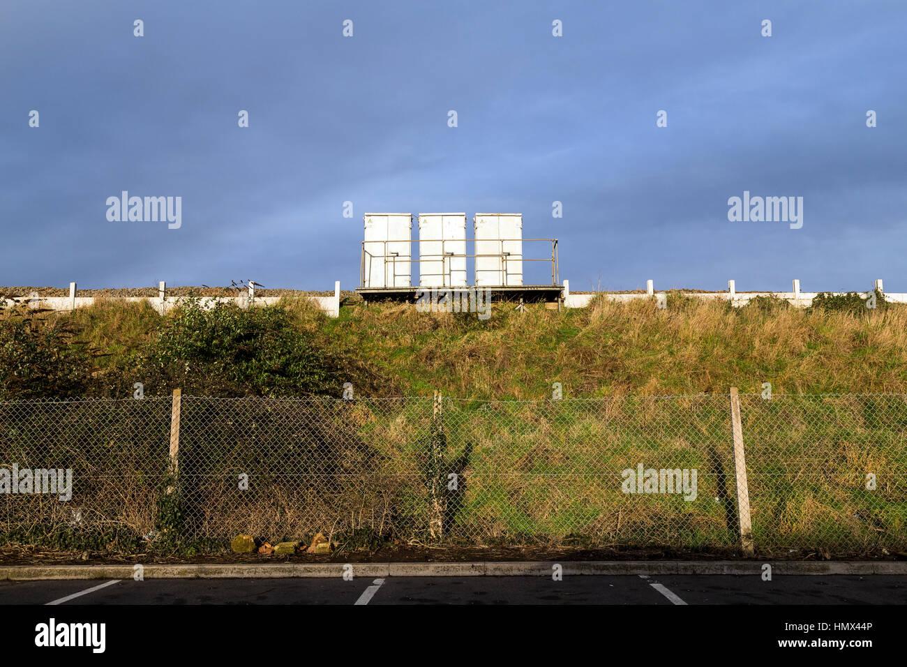 railway furniture on embankment of National Rail Network - Stock Image