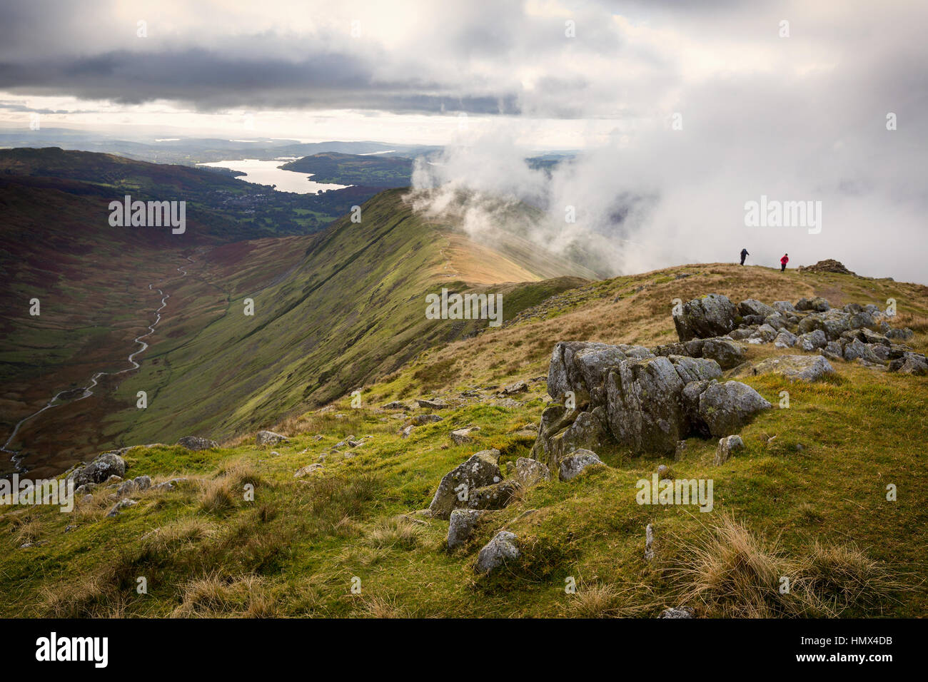 View of Rydal Fell and Lake Windermere from the top of Great Rigg on the Fairfield Horseshoe in Cumbria, UK - Stock Image