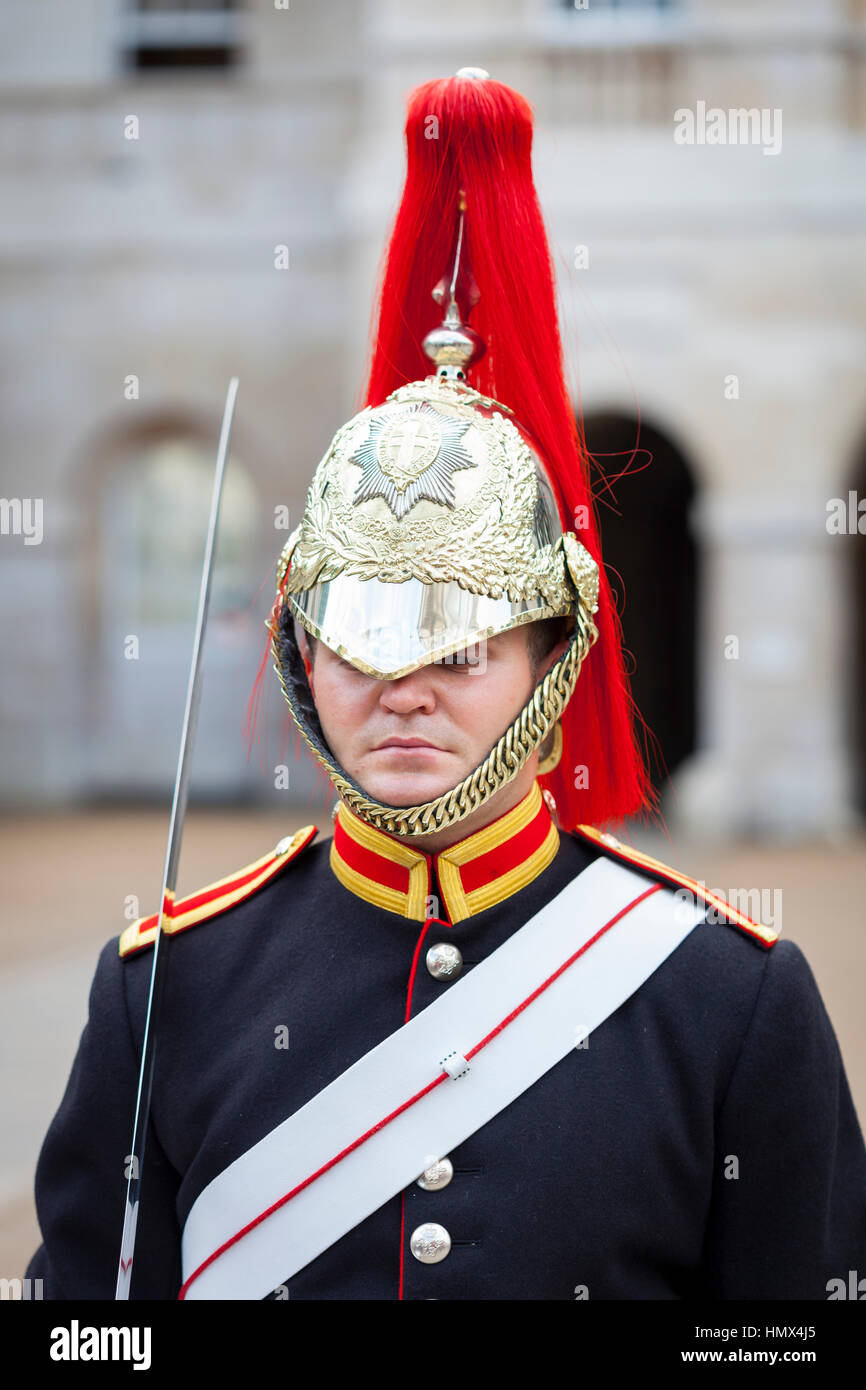 LONDON - SEPTEMBER 4 : Soldier of the Household Cavalry Mounted Regiment from the Blues and Royals Mounted Squadron - Stock Image