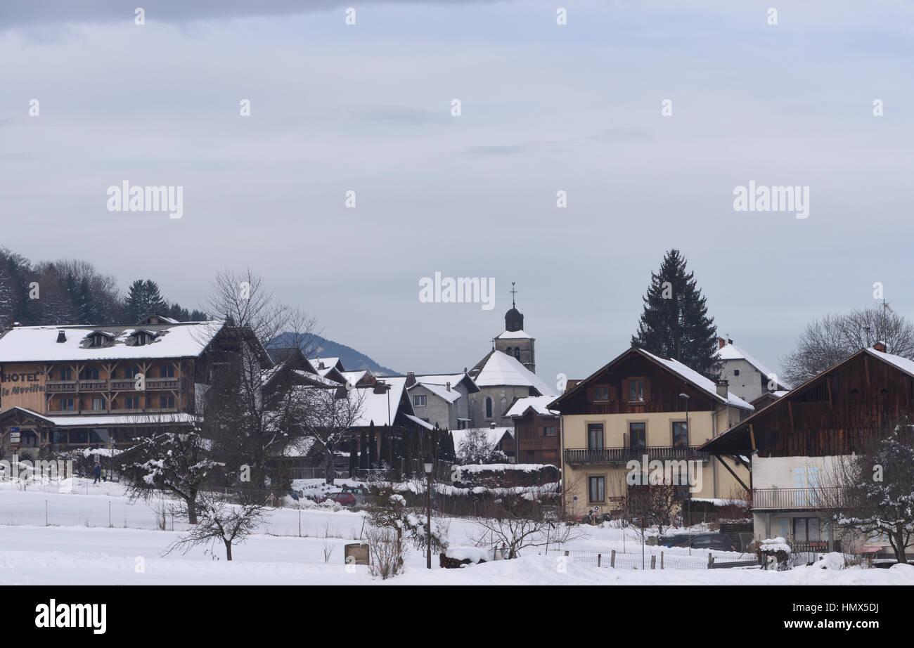 The village and ski resort of Morillon. Morillon, Haute-Savoie, France. - Stock Image