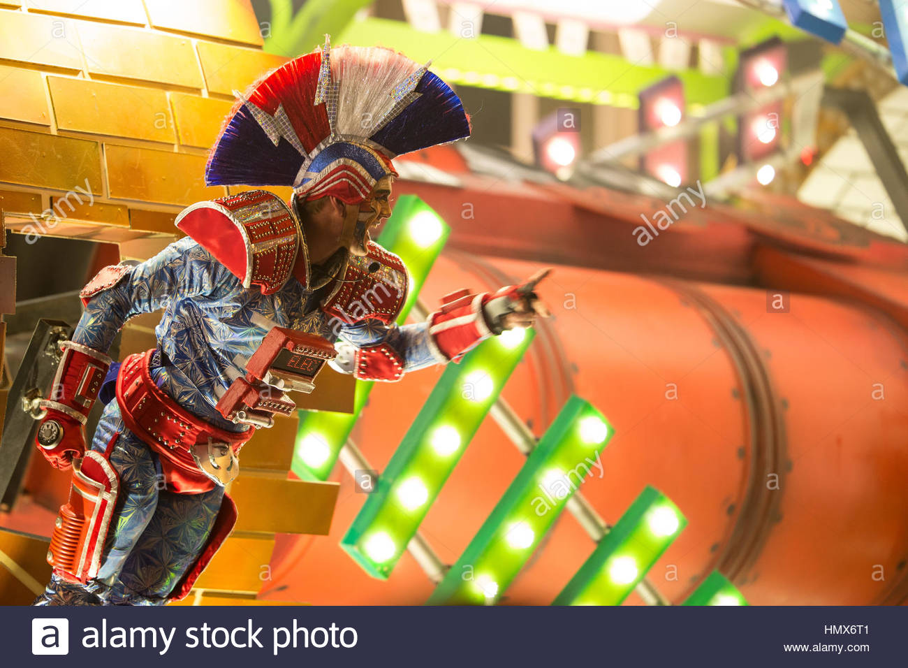 A single performer on Harlequin Carnival Club's Underground Express float at the Taunton Carnival, 2016. - Stock Image