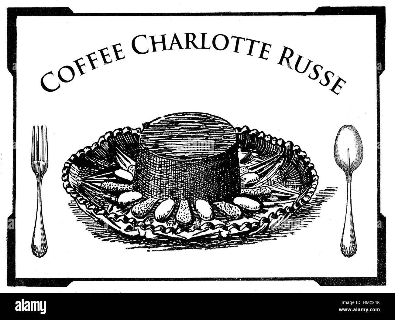 Vintage Cuisine Engraving Art Deco Dessert Presentation
