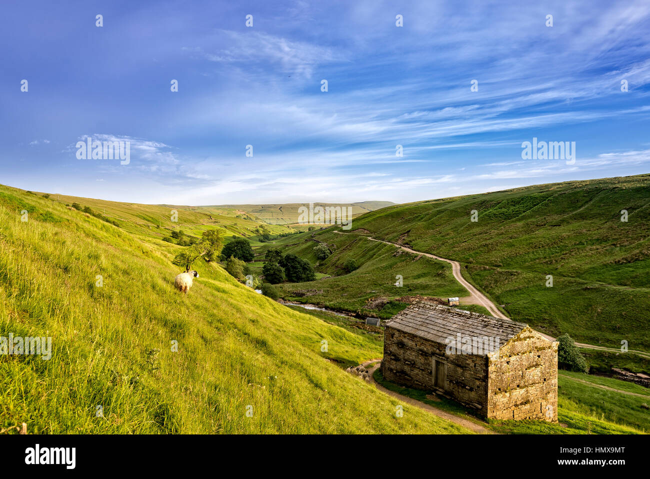 Evening sun up on the Pennines in the Yorkshire Dales - Stock Image