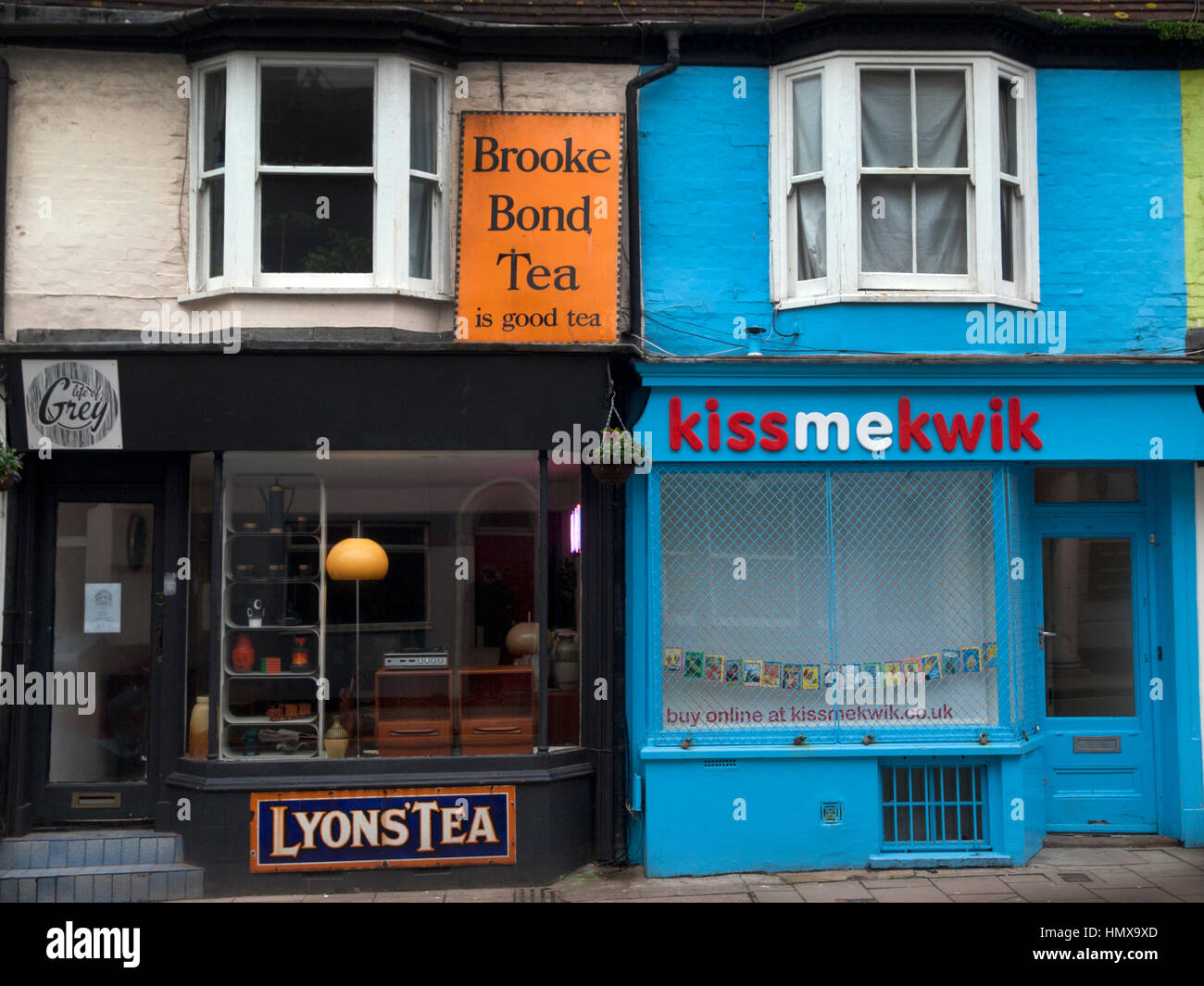Shopfronts in George Street, Brighton - Stock Image