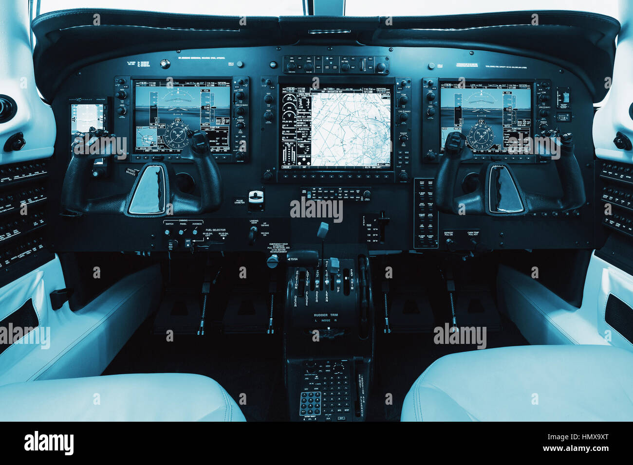 Dashboard single piston aircraft with glass cockpit. Small private aircraft, interior and dashboard. m350 - Stock Image