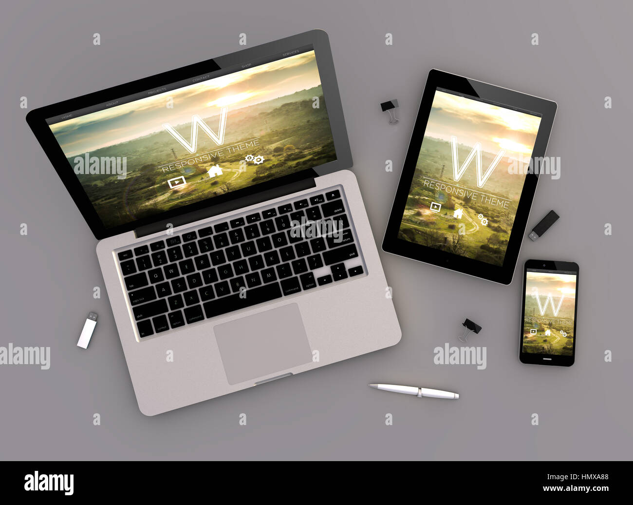3d rendering of website template responsive devices with
