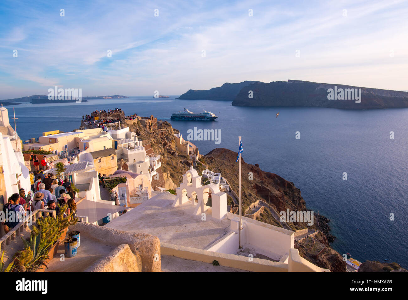 View of the sea from Oia, Santorini with Mein Schiff cruise ship - Stock Image