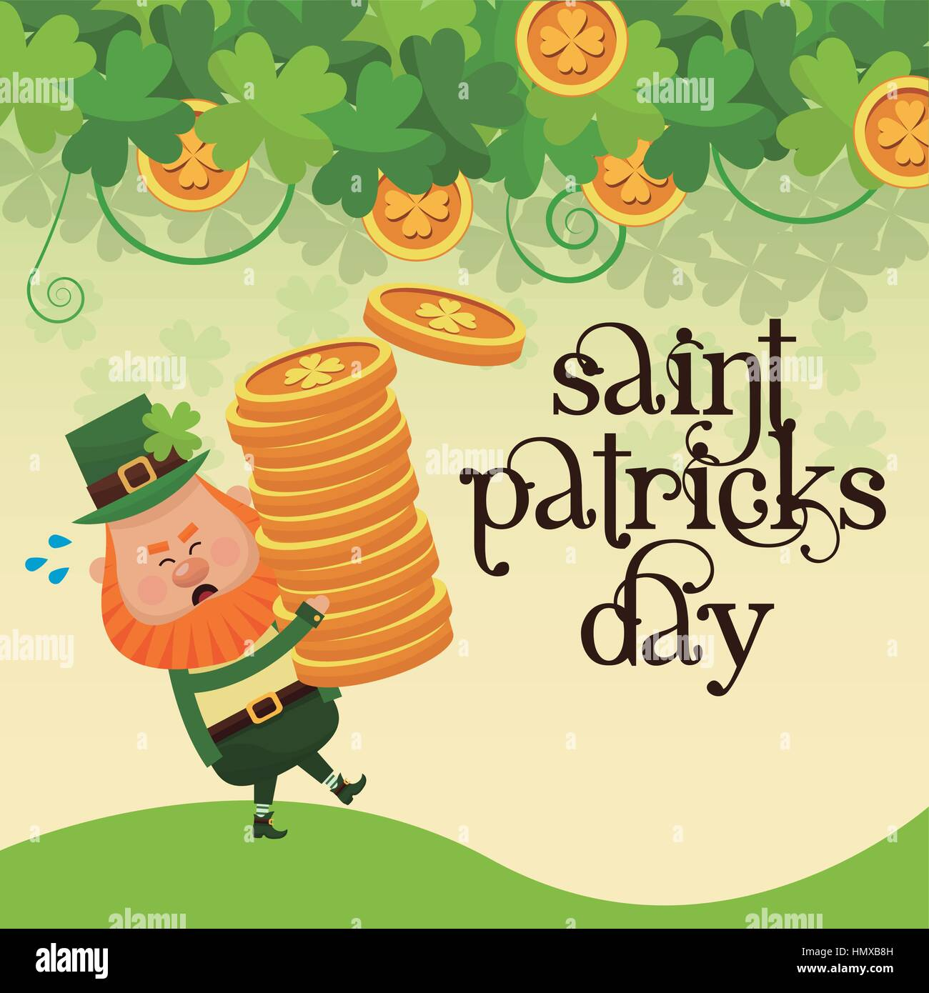 saint patricks day leprechaun carrying pile coins gold lettering poster - Stock Image