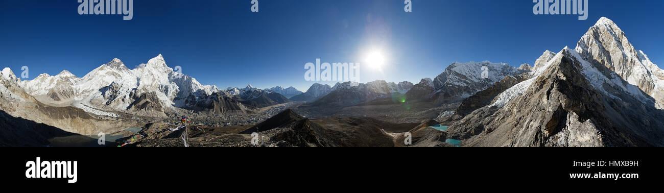 Himalayan 360 degree panorama from Kala Patthar including Everest Nuptse Ama Dablam and Pumori - Stock Image