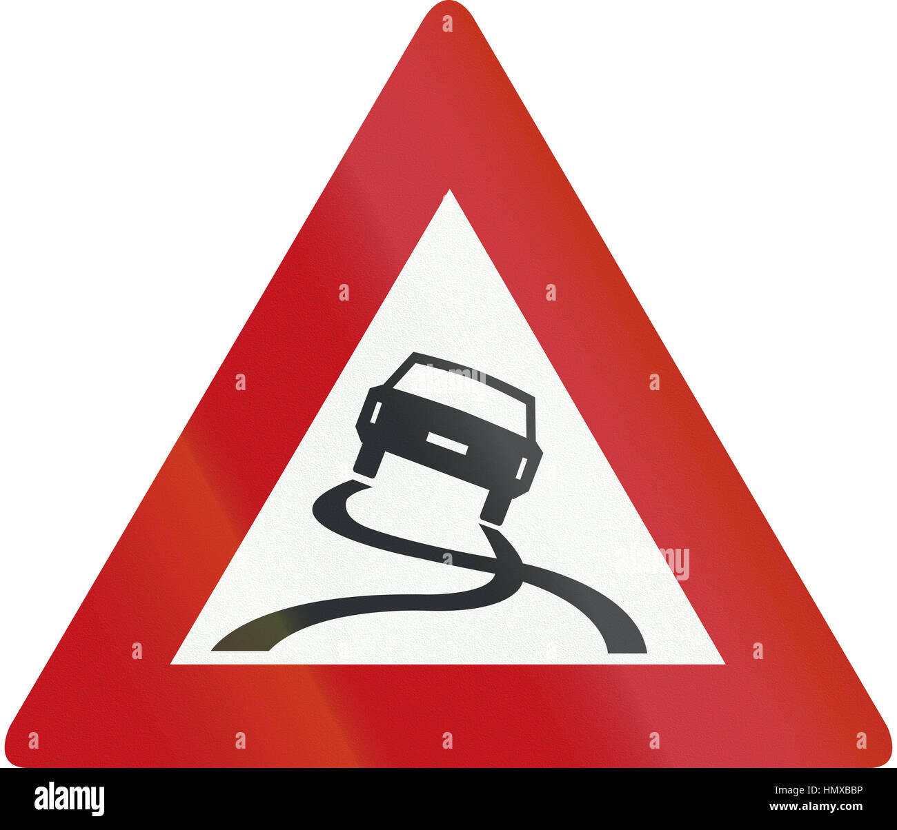 Netherlands road sign J20 - Slippery road. - Stock Image
