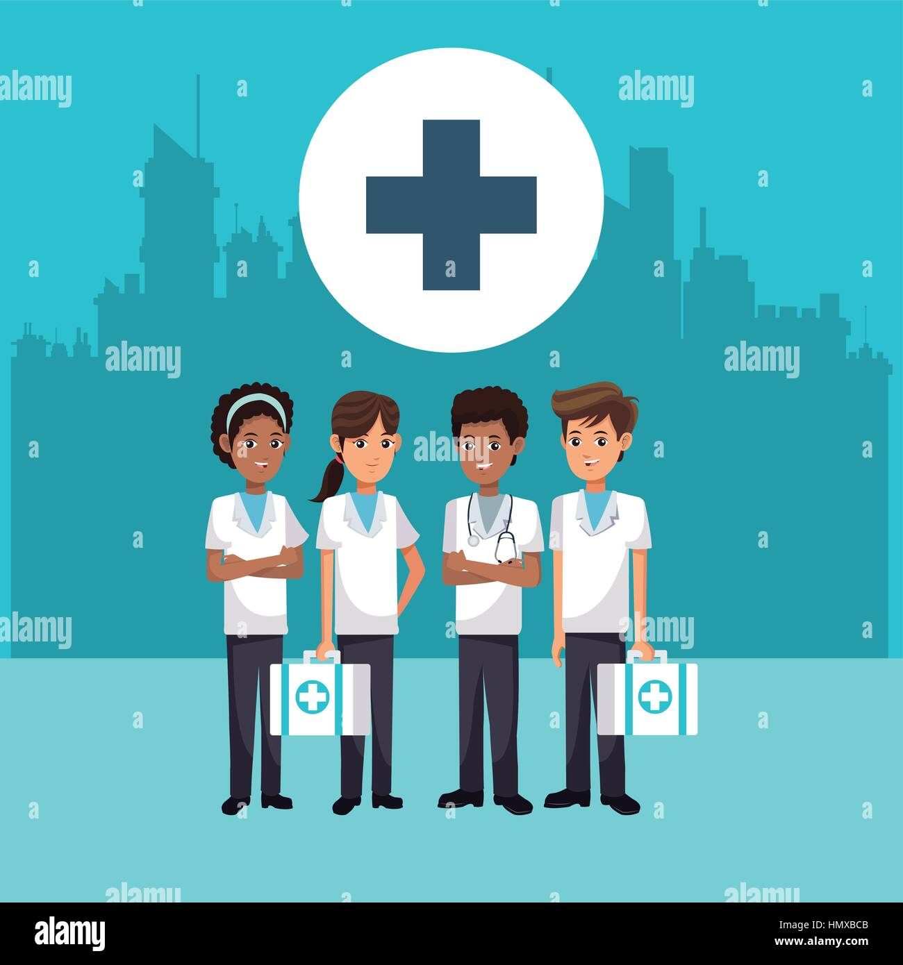 medical staff people cross city background - Stock Vector