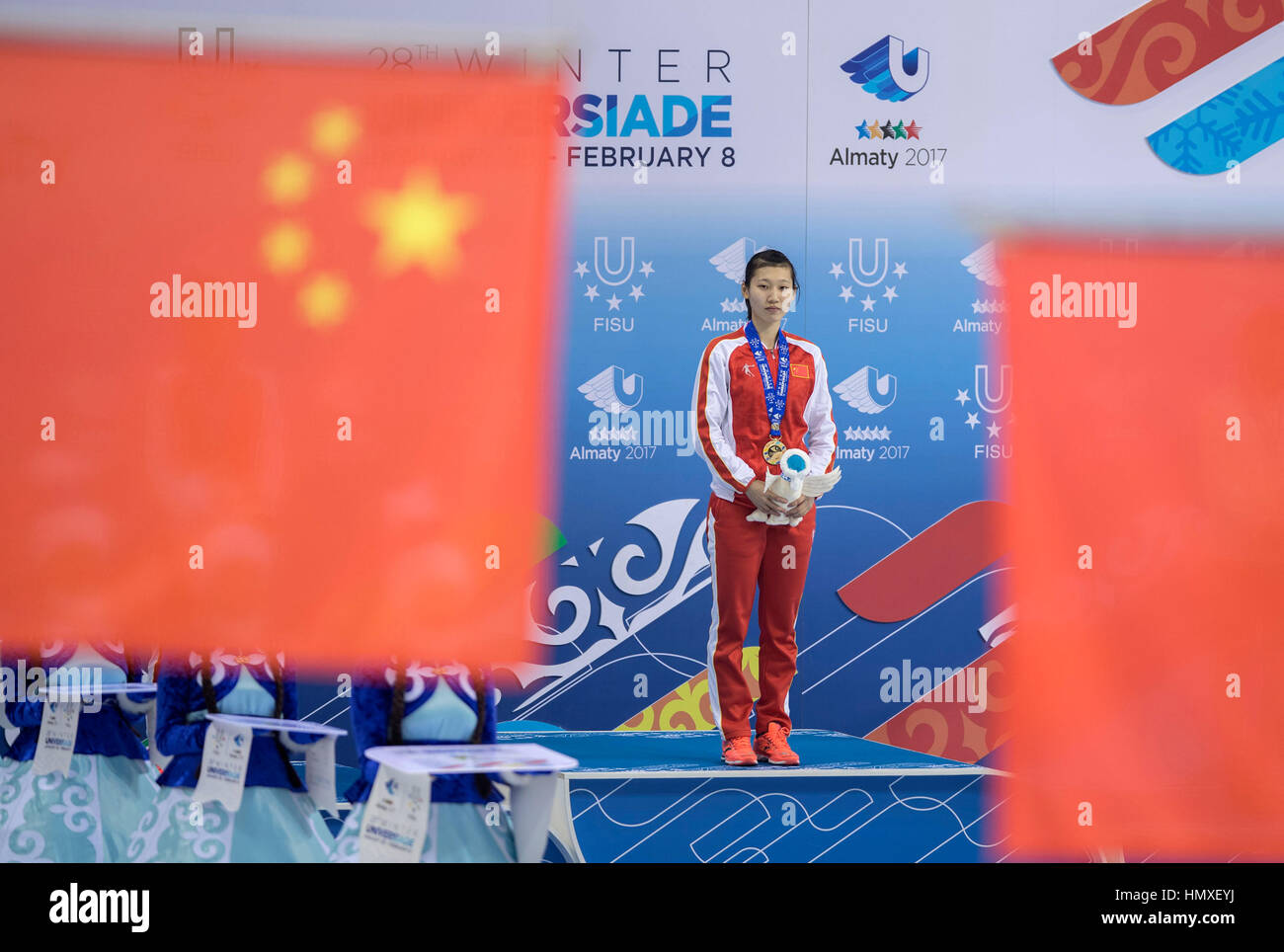 Almaty, Kazakhstan. 6th Feb, 2017. Zang Yize of China poses on the podium during the awarding ceremony for Ladies' - Stock Image