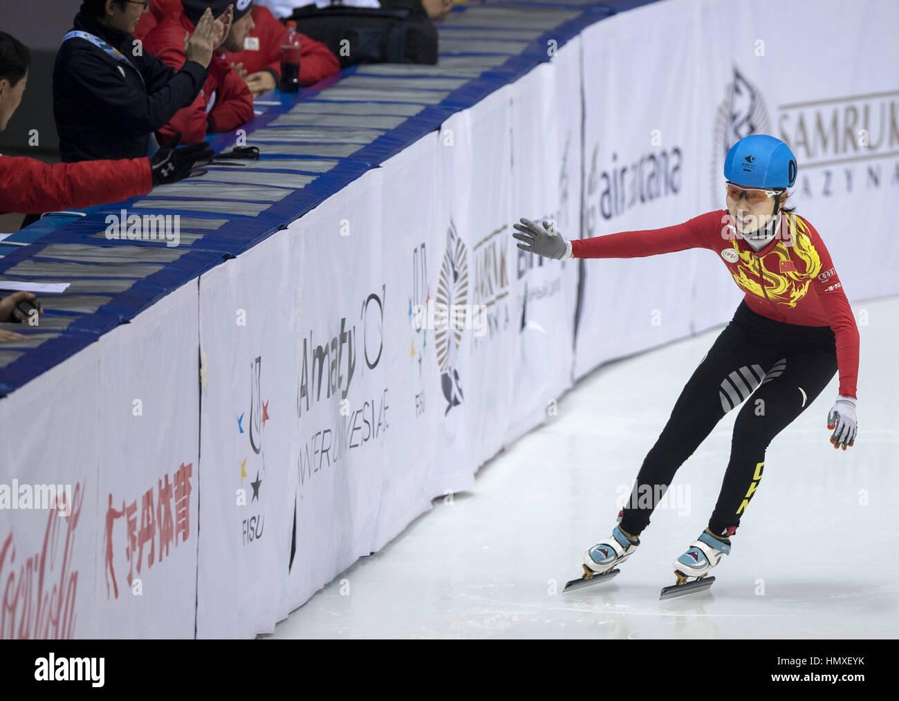 Almaty, Kazakhstan. 6th Feb, 2017. Zang Yize of China celebrates after winning Ladies' 500M Final of Short Track - Stock Image