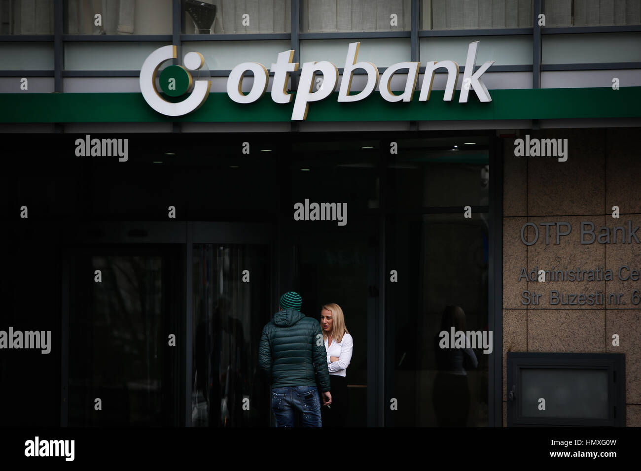 Bucharest, Romania. 06th Feb, 2017. A branch of the OTP bank is seen on 6 February, 2017. Credit: Willem Arriens/Alamy - Stock Image