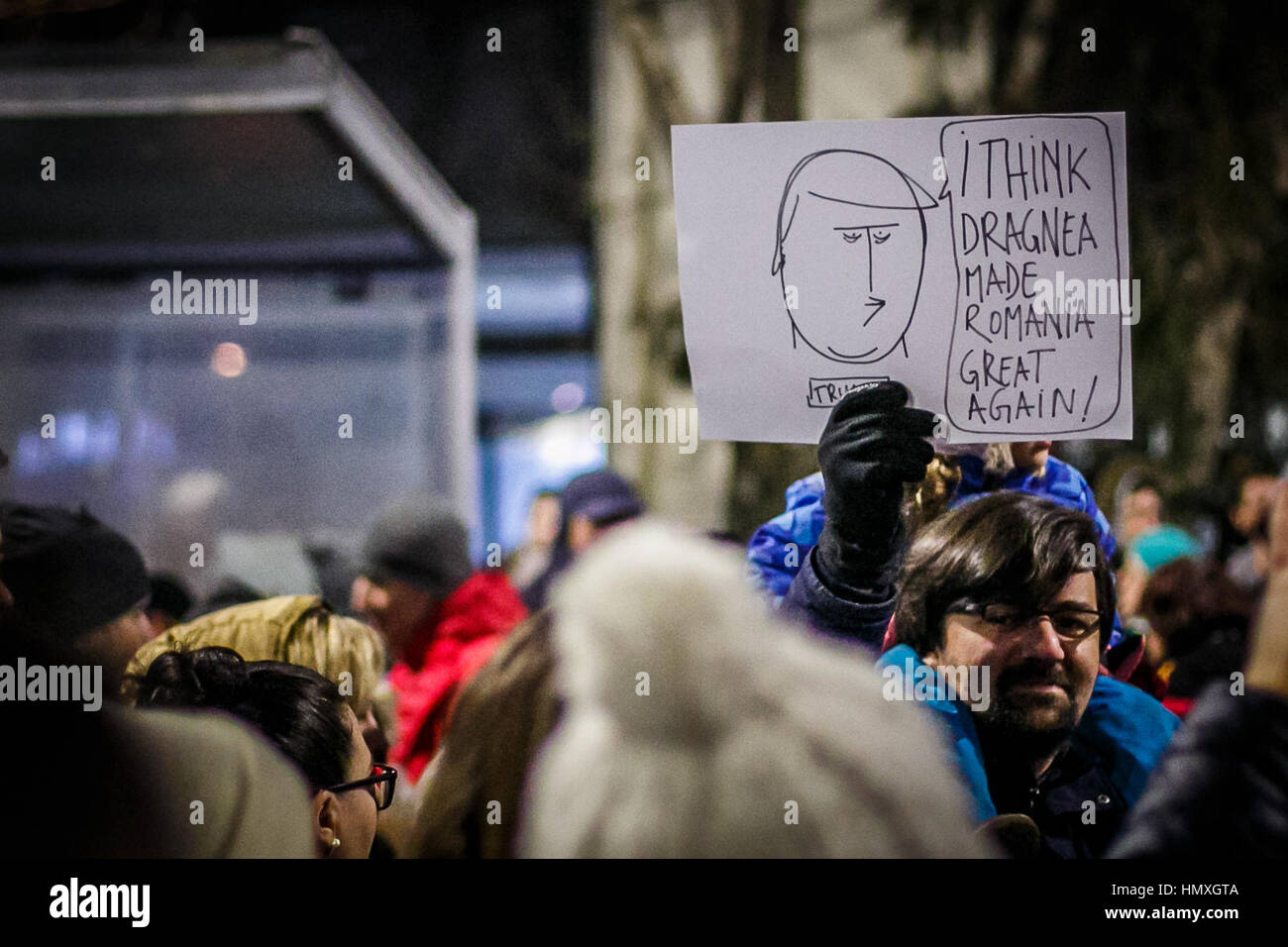 Bucharest, Romania. 5th February, 2017. Government protest in Bucharest.  It's the sixth consecutive day of - Stock Image