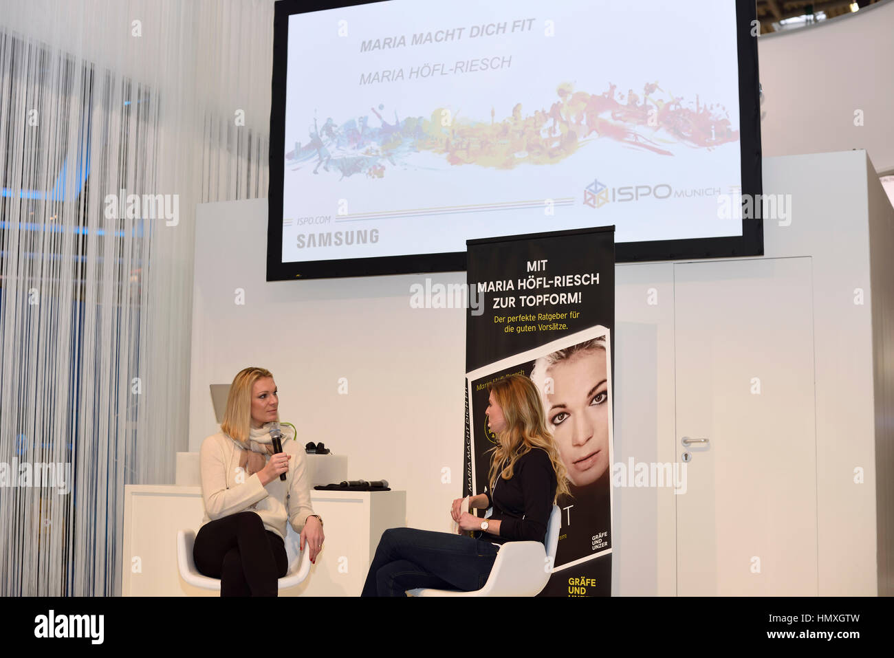 Munich, Germany. 6th February, 2017. Maria Höfl-Riesch (left side), former German alpine ski racer and Olympic - Stock Image
