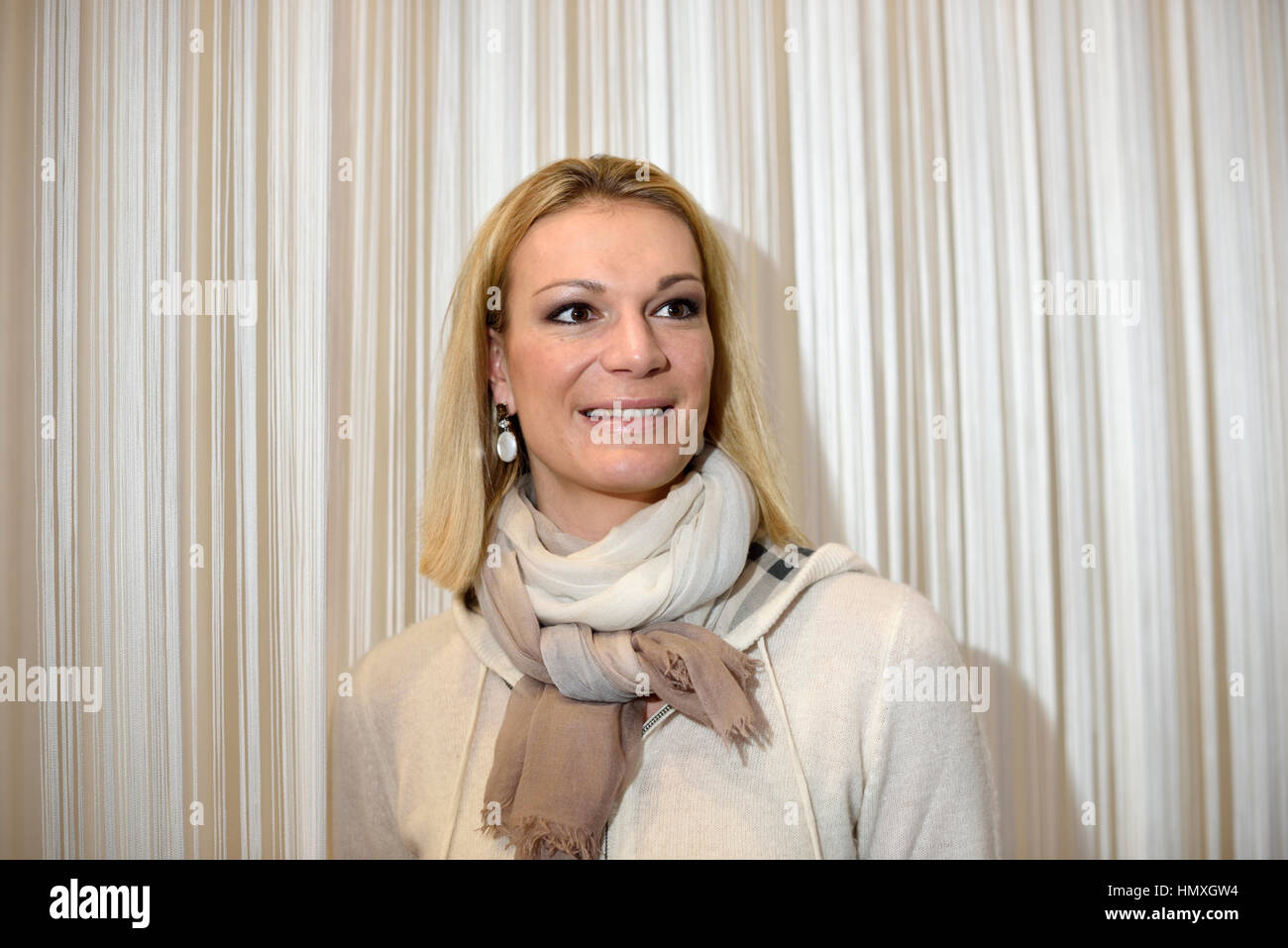 Munich, Germany. 6th February, 2017. Maria Höfl-Riesch, former German alpine ski racer and Olympic gold medalist, - Stock Image
