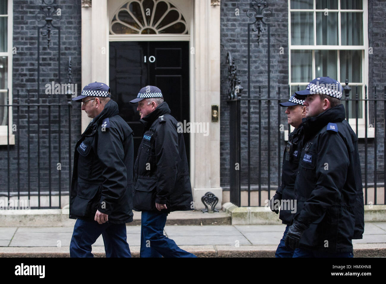 London, UK. 6th February, 2017. Security arrangements in and around Downing Street for the visit of the Prime Minister Stock Photo
