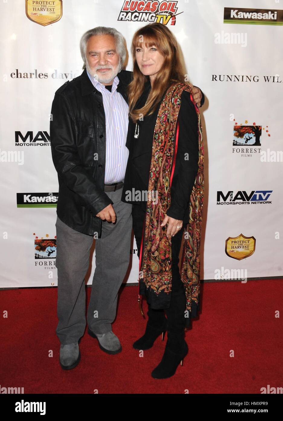Hollywood, CA. 6th Feb, 2017. Jane Seymour, David Green at arrivals for RUNNING WILD Premiere, TCL Chinese Theatre, - Stock Image