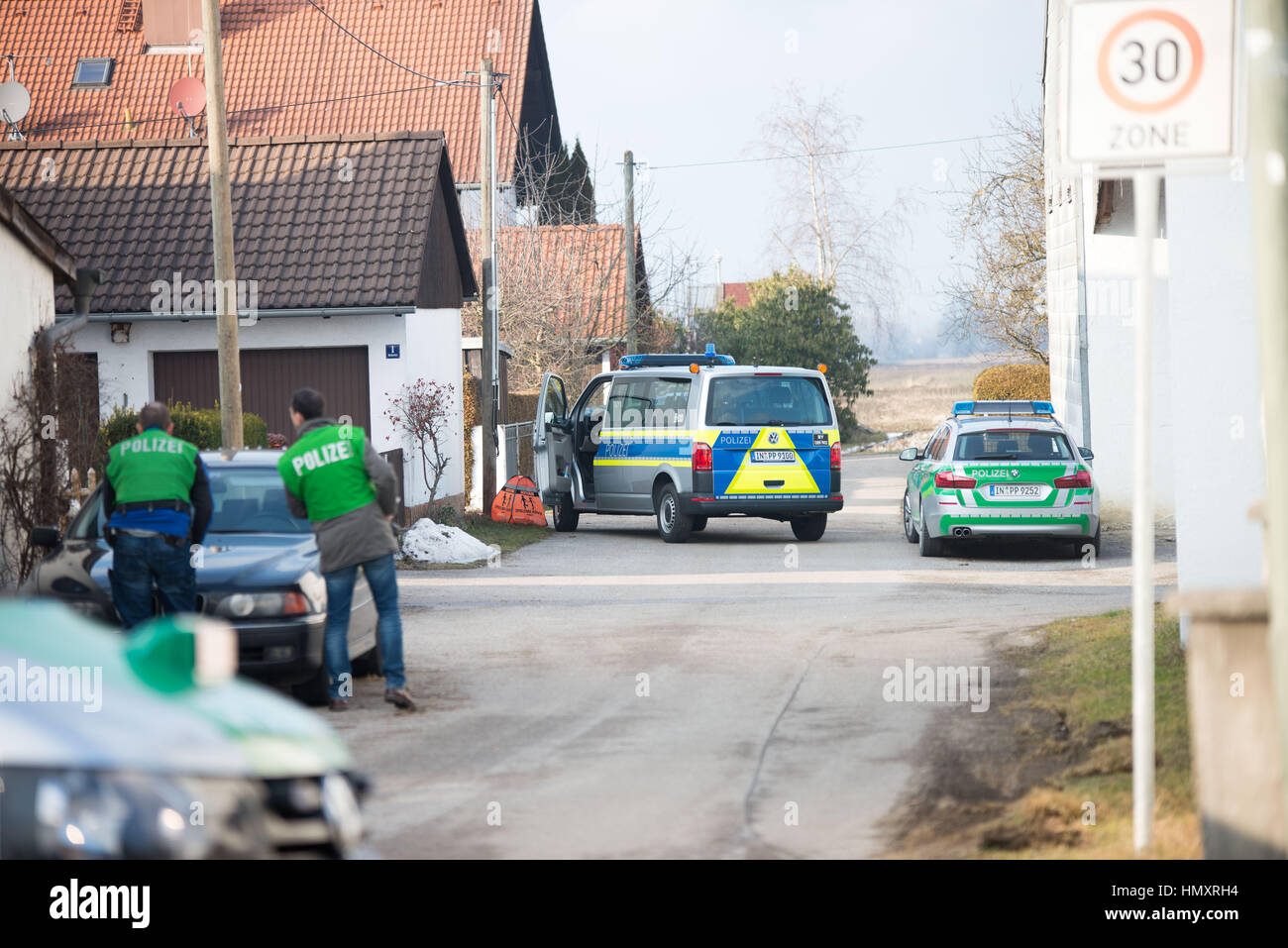 February 7, 2017 - 8am Landsham near Munich- Approximately 30 heavily-armed police in Germany initiated another - Stock Image