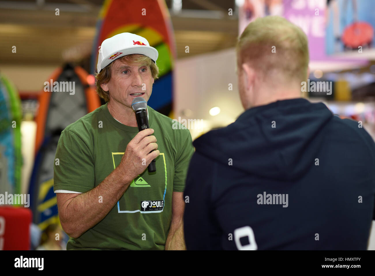 Munich, Germany. 7th February, 2017. Robby Naish (left side), American kitesurfing and windsurfing legend, sports - Stock Image