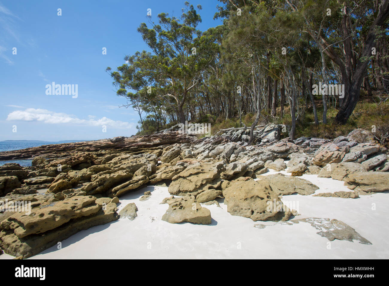 Southern rocky end of Greenfield Beach,Jervis Bay, on the south coast of New South Wales,Australia - Stock Image