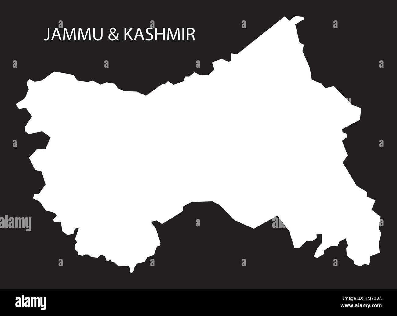 Jammu Kashmir India Map black inverted silhouette Stock Vector Art ...