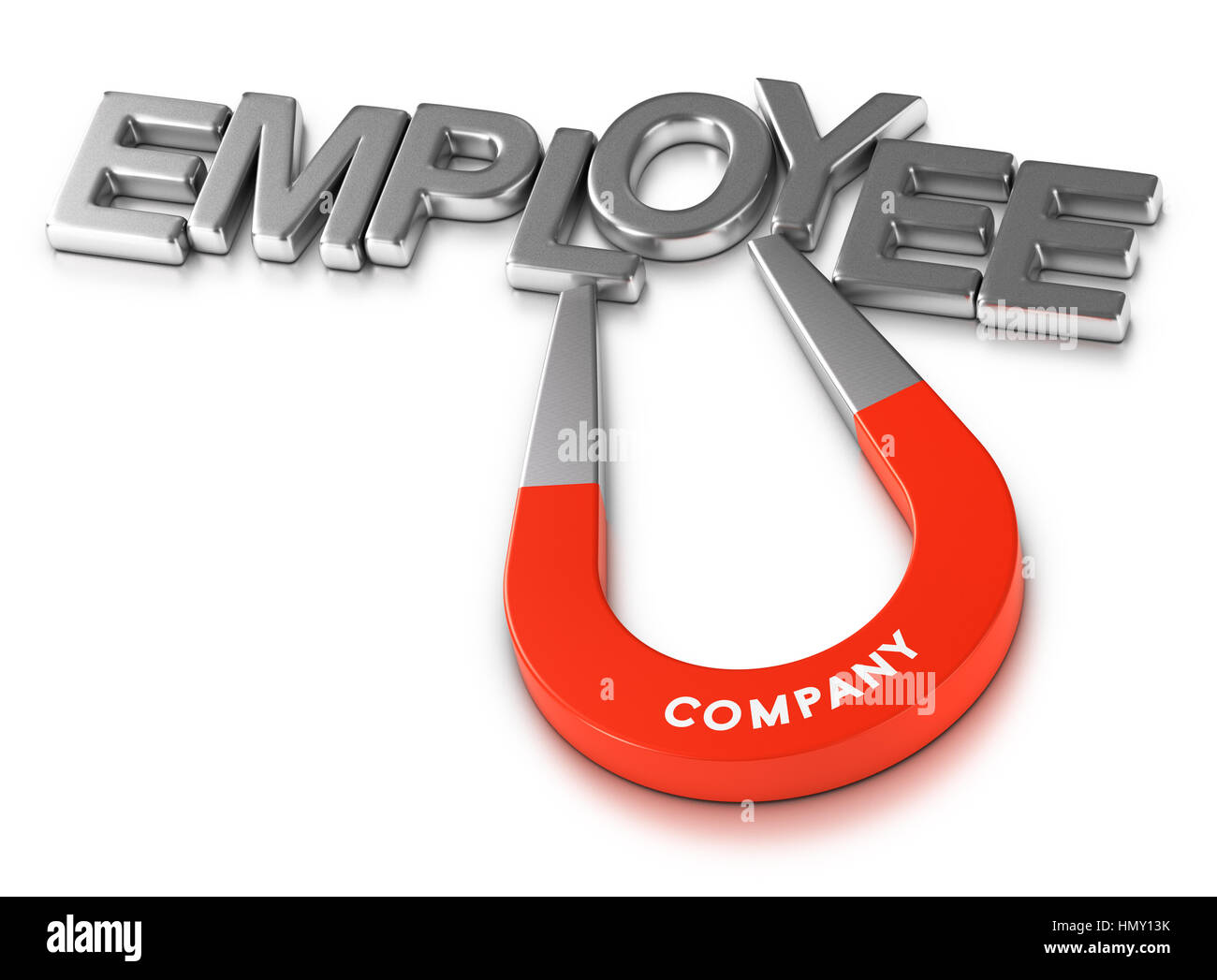 Horseshoe magnet attracting the word employee over white background, 3d illustration of staff retention program - Stock Image