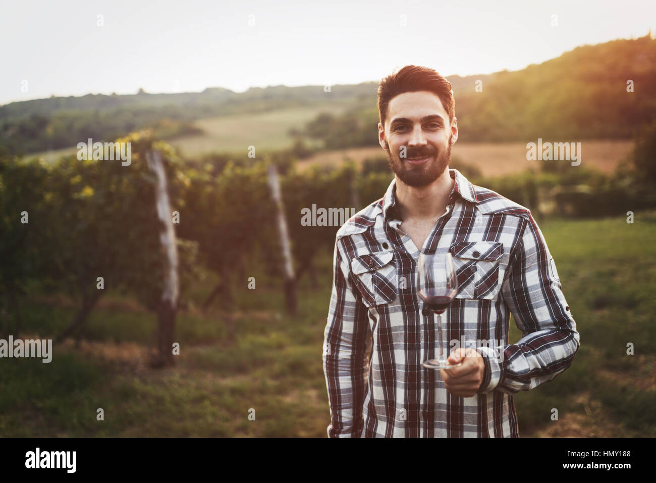 Happy winegrower tasting wine in vineyard in summer - Stock Image