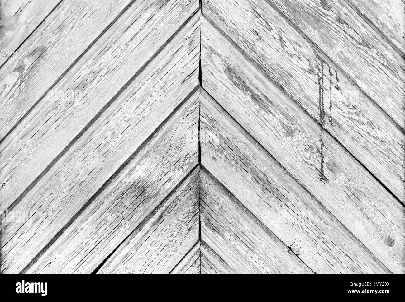 Old white wooden planks texture with weathered paint - Stock Image