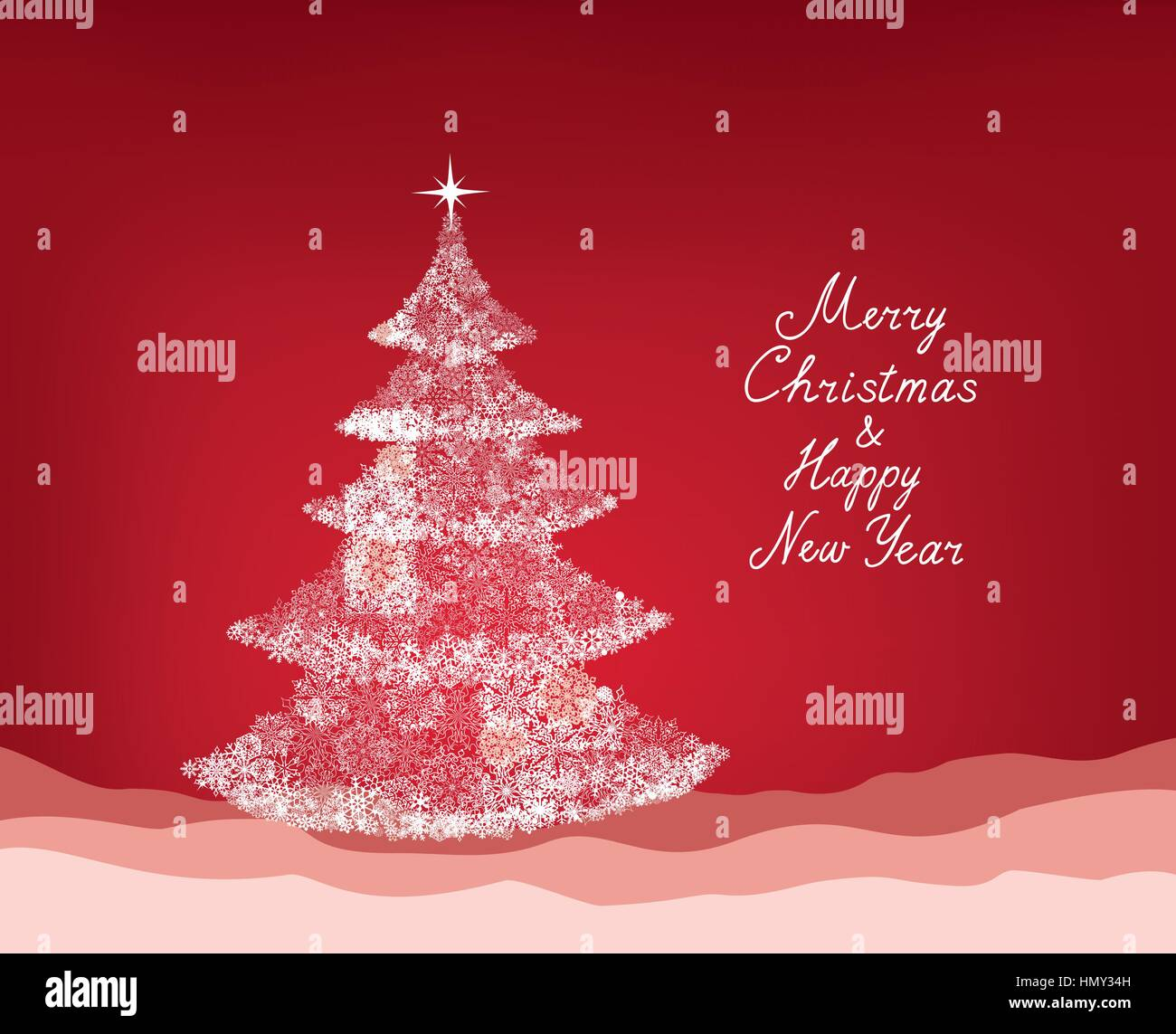 Christmas background with New Year Tree, Snow and